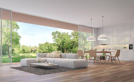 Modernes Wohn-, Esszimmer und Küche mit Gartenblick 3D-Rendering. Die Zimmer haben Holzböden, sind mit weißen Möbeln dekoriert, es gibt große offene Türen. Mit Blick auf eine Holzterrasse und einen großen Garten.