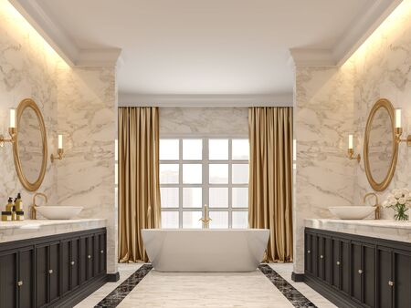 Luxurious bathroom with white marble walls and  floors, black marble border ,Decorated with black wood cabinets and gold curtains,3d render.
