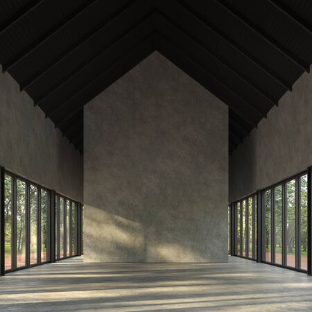 Loft style empty room with nature view 3d render,There are polished concrete floor and wall,black wood ceiling,There are large windows look out to see the nature,sunlight shining into the room. Фото со стока