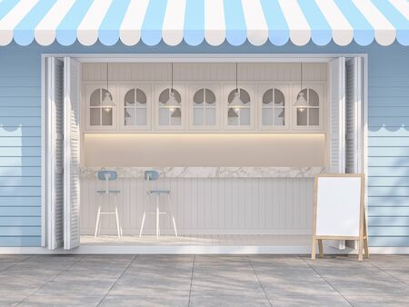 Blue and white coffee shop 3d render, vintage style, decorated with white marble counter and white plank In front of the store is a concrete footpart with sunlight shining down and a tree shadow.