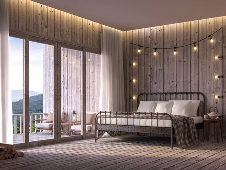 Cottage bedroom 3d render, The floor and walls are old wood, decorated with black metal bed. Decorated with string lights on the wall,There are large doors overlooking  balcony and mountain view.