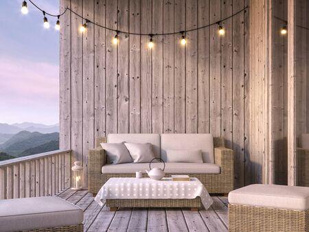 Balcon en bois avec vue sur la montagne rendu 3d, le sol et les murs sont en vieux bois, décorés de tissus et de meubles en rotin. Décoré de guirlandes lumineuses.