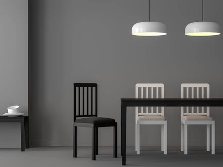 Minimal dining room  3d render,There are gray room,Decorate with black and white simple design furniture. Фото со стока