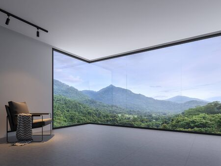 Minimalist room space with nature view 3d render,With a dark gray tile floor and white wall. Decorated with black cloth chairs,There are large  window, looking out to see the mountain. Фото со стока