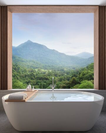Modern contemporary bathroom with nature view 3d render,There are concrete tile floor decorate wall with wood lattice, There are large open window overlooking to see mountain view. Фото со стока