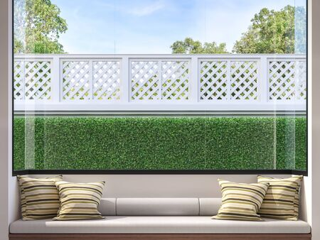Modern window seat 3d render,There are white room,wood and fabric seat,decorate with many pillow.There are big windows looking to see house fence and garden. Фото со стока