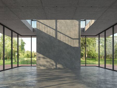 Loft style empty room with concrete backdrop 3d render,With a concrete floor and ceiling. There are large  window, looking out to see wood terrace and nature view. Banco de Imagens