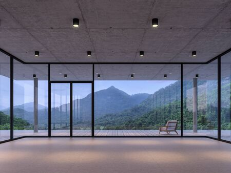 Modern loft room space with nature view 3d render,With a dark gray tile floor and concrete ceiling. There are large  window, looking out to see wood terrace and mountain view.