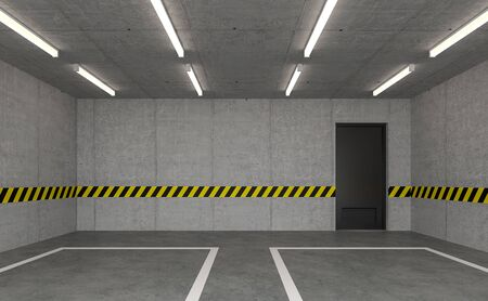 Empty loft garage 3d render,There are polished concrete room with black door, decorated wall with yellow-black strips