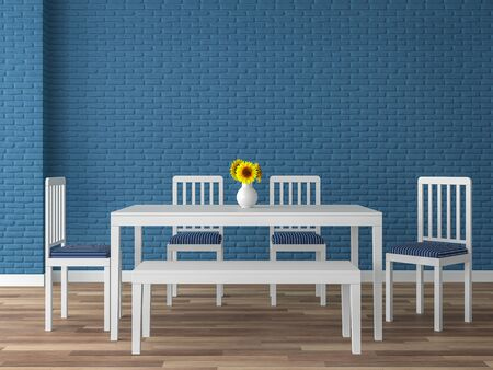 Colorful dining room 3d render,There are wood floor,navy blue empty brick wall,decorate with white wood furniture.