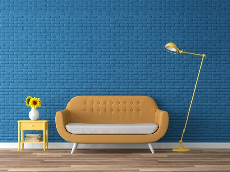 Colorful living room 3d render,There are wood floor,navy blue empty brick wall,decorate with yellow fabric sofa