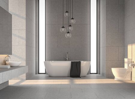 Modern loft bathroom with concrete tile 3d render,decorated with white bathtub, decorated with glass hanging lamps, the sunlight shines into the room.
