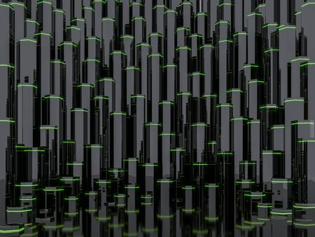 Abstract sci-fi background with  glossy black column and green light 3d render Фото со стока
