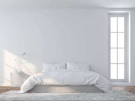 Bright white bedroom 3d render,There are wooded floor and  white empty wall,Furnished with white bed set.sunlight shining into the room. Фото со стока