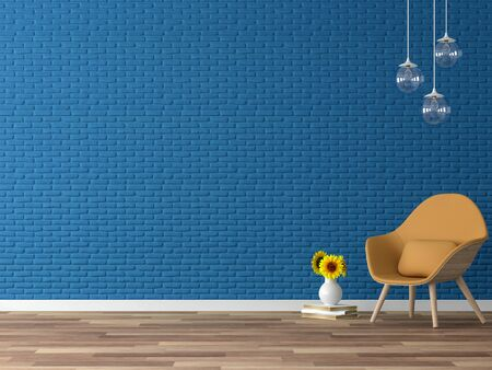 Empty colorful wall 3d render,There are wood floor,navy blue  brick wall,decorate with yellow fabric chair and glass hanging lamp.