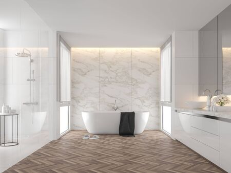 Luxury bathroom with white marble backdrop walls 3d render,The room has wooden floors, white tile walls, There are large windows natural light shining into the room. Фото со стока