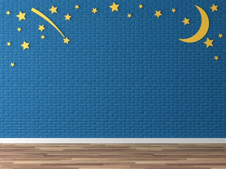 Empty colorful wall 3d render,There are wood floor,navy blue  brick wall,decorate with yellow moon and star.
