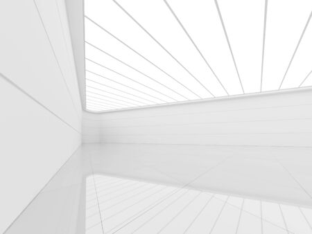 Modern white background with empty space  interior room 3d render,There are white tile floors,grooved walls and fluorescent ceilings Фото со стока