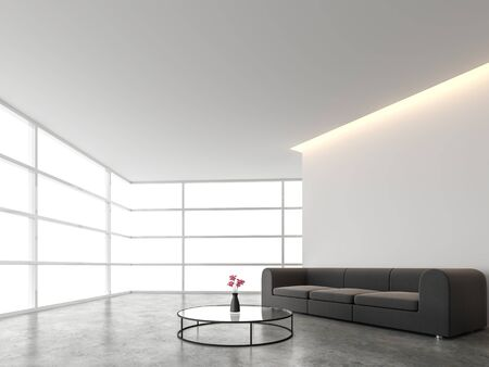 Minimal style living room with white backdrop 3d render.There are concrete floor,white wall.Finished with dark gray sofa,The room has large windows. Looking out to see the scenery outside.
