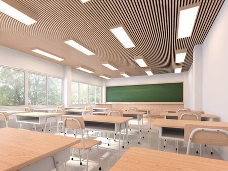Modern contemporary classroom 3d render,The rooms have white walls and floors, wooden ceilings, decorated with wooden tables and chairs, large windows overlooking natural views. Фото со стока