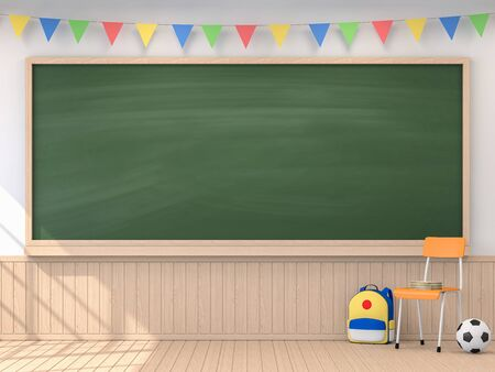 Back to school concept with empty blackboard 3d render,The classroom have white walls and wooden floor, decorated with colorful  Flag,sunlight shining into the room. Фото со стока