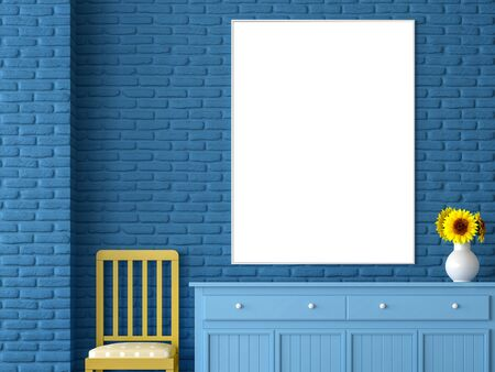 Blank picture frame 3d render,There is a blank picture frame hanging on the blue brick wall Above the blue closet With a yellow chair on the side Фото со стока