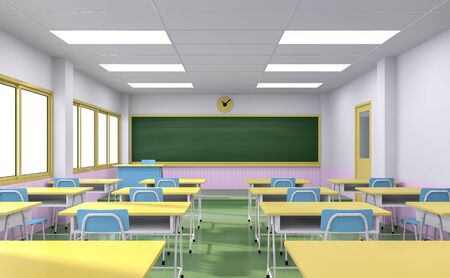 Cartoon style classroom interior concept with colorful school desks and chair ,empty blackboard,door and window-3d render