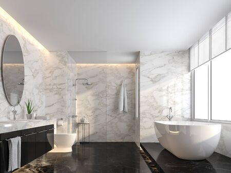 Luxury bathroom with black marble floor and white marble wall 3d render,The room has a clear glass shower partition,There are large windows natural light shining into the room. Фото со стока