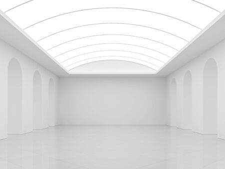 White background with modern interior room 3d render,There are white tile floors,white paint walls and arch fluorescent ceilings.