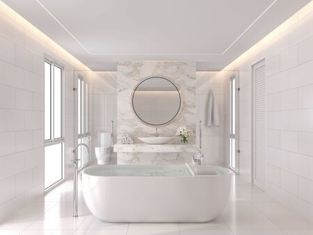 Luxurious white bathroom modern style 3d render. The room has white tiles and the wall is decorated with marble at the back of the basin wall. There is a large window of natural light into the room.