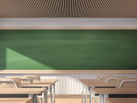 Modern contemporary classroom with empty blackboard 3d render,The classroom has white walls and wooden floors decorated with wooden student desks. The sunlight shines into the room.