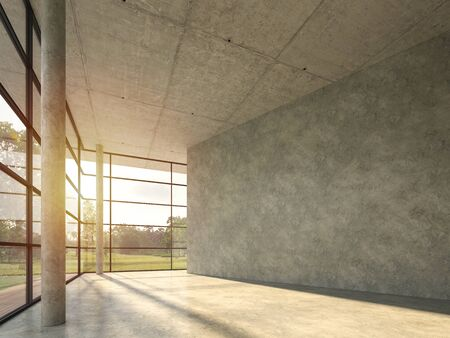 The interior space in the modern loft building with polished concrete 3d render, with large windows looking out over the nature,sunlight shining into the room.