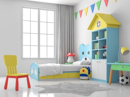 Children bedroom 3d render, white walls and floors, decorated with blue bear beds and colorful furniture, large windows that allow natural light into the room.