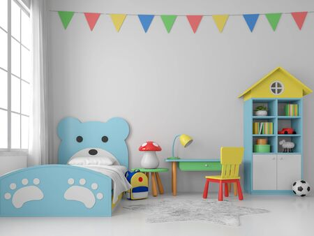 Colorful kid bedroom 3d render, white walls and floors, decorated with blue bear beds and multi colorl furniture,decorate wall with tringle flag, large windows that allow natural light into the room. Фото со стока