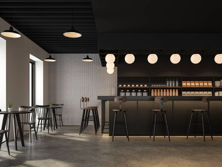 The coffee shop style industrial loft has concrete floors, white brick walls, black ceilings, wooden counter bar decorated with black metal mesh. decorate with beautiful lamp,3d render Фото со стока