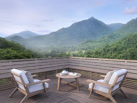 Morning mountain view on a wooden balcony 3d render. There are old wood terrace.Furnished with fabric and wooden furniture. overlooking the surrounding nature view. Фото со стока
