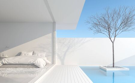 Minimalist bedroom In a private residence Modern style with pure white Beside the bedroom there is a balcony next to the pool. Decorated with dry trees-3d render