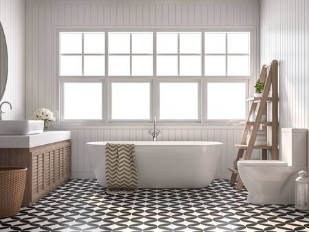 Vintage bathroom 3d render, With white plank walls, black and white pattern floor,Decorate with wooden shelves and cabinet,The rooms have large windows, Natural light shines inside.