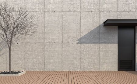 Empty loft wall exterior 3d render,There are wooden floor polished concrete wall,black metal door,decorate with dry tree