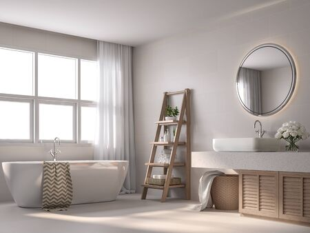 Modern contemporary style bathroom 3d render, With beige tile walls, black and white pattern floor,Decorate with wooden shelves and cabinet,The rooms have large windows, Natural light shines inside. Фото со стока