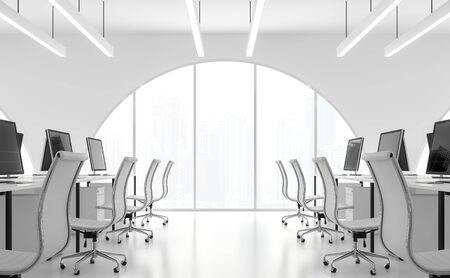 Modern white office minimal style 3d render.There are white room.Furnished with white furniture .There are arch shape windows looking out to see the scenery outside.