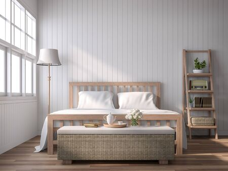 A vintage style bedroom with blank plank walls 3D render, with wooden floors, white plank walls decorated with wood and rattan furniture, sunlight shines into the room. Фото со стока