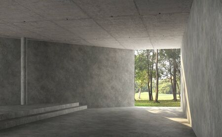 Empty concrete room interior with nature view 3d render,There are polished concrete floor and wall,There are large entrance look out to see the nature,sunlight shining into the room.