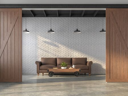 Industrial style living room 3d render.There are white brick walls,polished concrete floors,black steel ceilings and wooden sliding doors,Decorated with dark brown leather sofas. Фото со стока