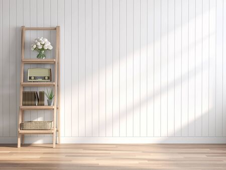 Vintage style empty room 3d render,There are wood floor ,white wood plank wall.Decorated with wooden shelves,The sun shining into the room.