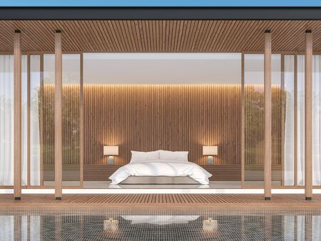 Bedroom in modern contemporary style 3d render,The walls are decorated with wood. Decorated with white beds The front of the room has a wooden balcony and a black tile swimming pool.