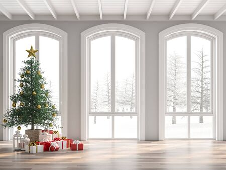 Classical empty room decorate with christmas tree 3d render,The room has wooden floors and white wooden ceilings decorated with pine trees and gift boxes.The arched windows look out to the snow scene.