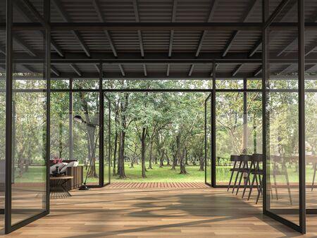 Maison de style loft industriel dans le jardin rendu 3d avec parquet et structures en acier noir décorées de canapés en cuir marron foncé avec de grandes fenêtres entourées de nature verdoyante.