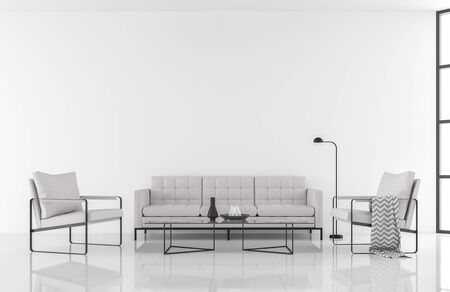 Minimal style modern white living room 3d render,decorate with white fabric and black metal furniture Фото со стока