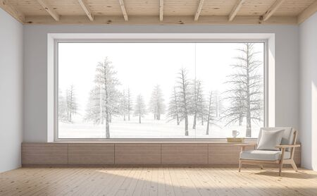 Empty room with snow scene background 3d render,There are white wall,wooden floor and ceiling,wood seat,decorate with fabric chair.There are big  windows look out to see nature view.